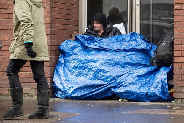 Tại thị trấnLeamington Spa, người vô gia cư đang ngày một nhiều. Ảnh: SWNS