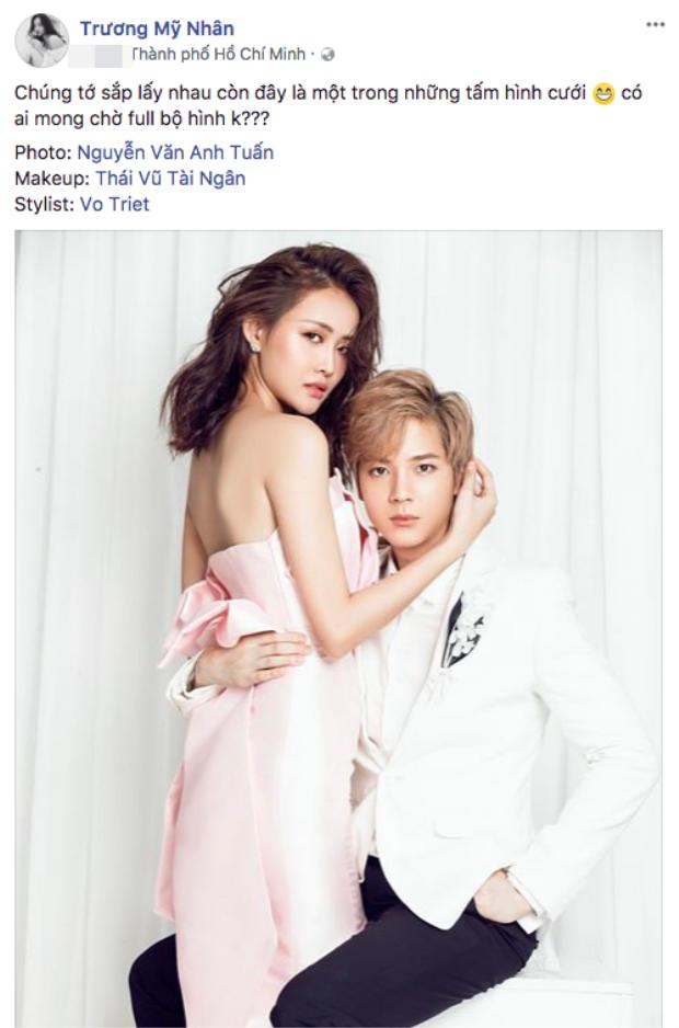 Trương Mỹ Nhân thông báo sắp kết hôn với Kent Phạm - bạn diễn trong Thử yêu rồi biết.