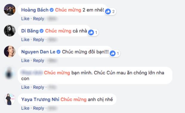 Không ít sao Việt để lại bình luận chúc mừng.