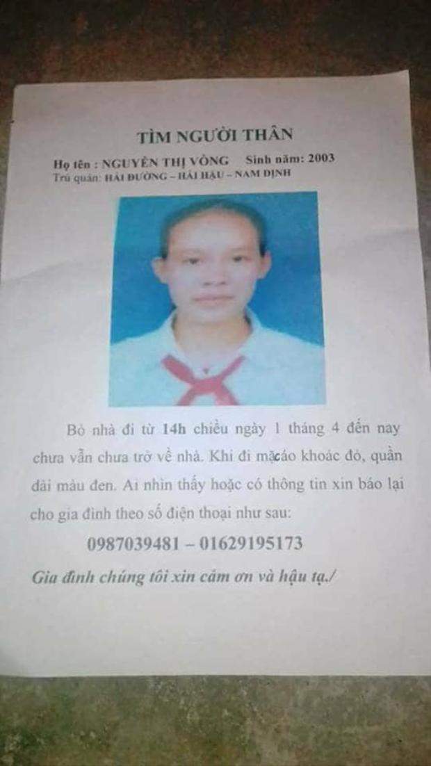 Thông báo tìm người của gia đình nữ sinh 15 tuổi.