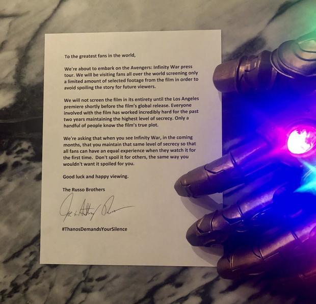 Thanos 'cảnh cáo' người hâm mộ không tiết lộ trước kết quả của 'Infinity War'