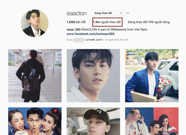 Isaac có tới 1,4 triệu fan trên Instagram.