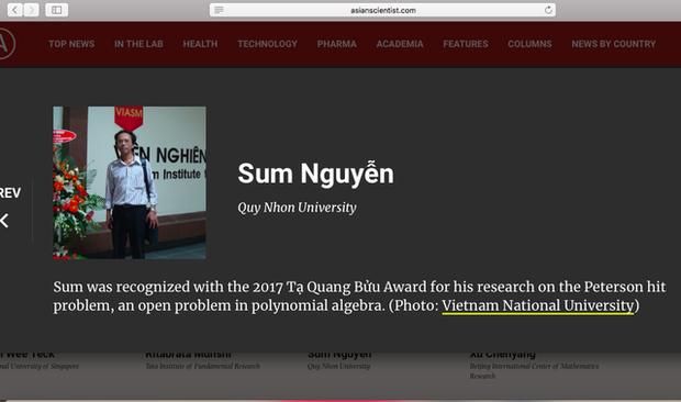 Thông tin của PGS.TS Nguyễn Sum, trường ĐH Quy Nhơn được tạp chí Asian Scientist công bố.