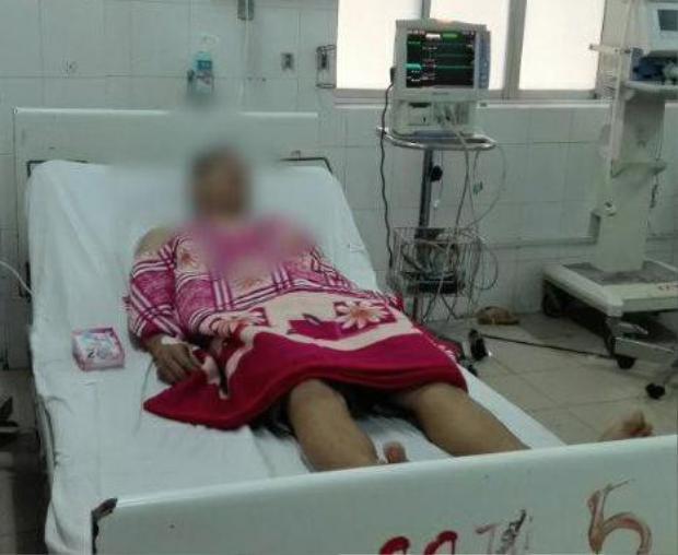 Anh T. tại bệnh viện.