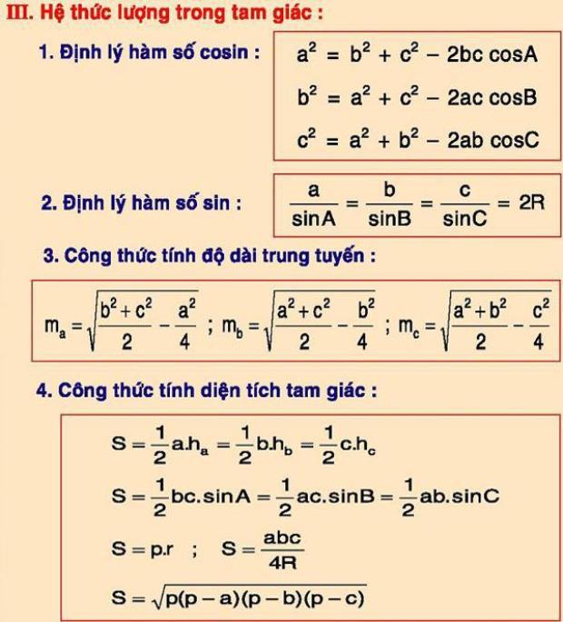 Công thức chuyên dùng trong tính toán hình học.