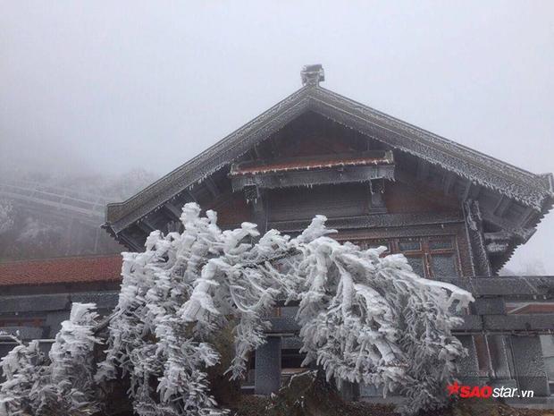 Băng tuyết phủ trên gác mái chùa.