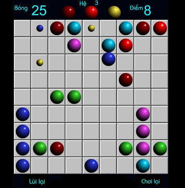 """Luật chơi đơn giản: Xếp 5 quả bóng thành đường thẳng nhưng lại là """"game IQ"""" gắn liền với nhiều thế hệ. Có lẽ vì sự trí tuệ của nó, Line 98 là game duy nhất được các bậc phụ huynh dành trọn cảm tình."""