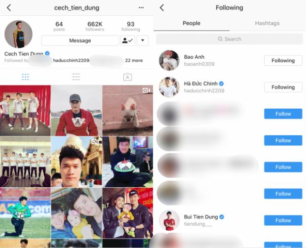 Bùi Tiến Dũng chỉ theo dõi Bảo Anh trên Instagram.