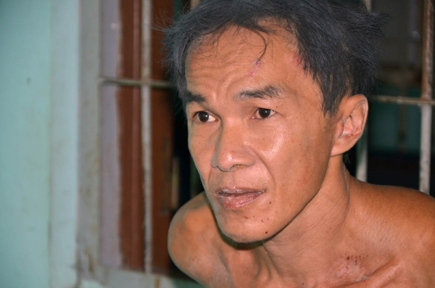 Nghi phạm Nguyễn Thanh Tâm tại cơ quan công an.