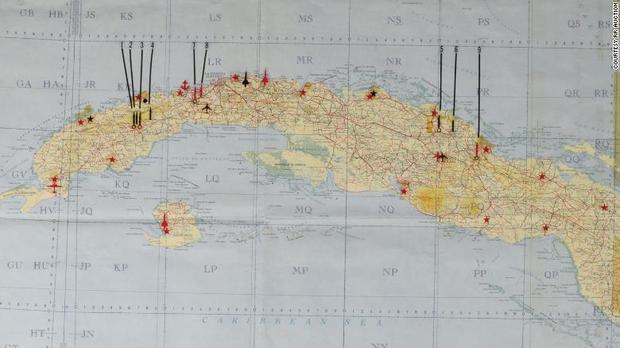 Tấm bản đồ chết chóc của cố Tổng thống Kennedy, đánh dấu những địa điểm có thể tấn công ở Cuba. Ảnh: BBC