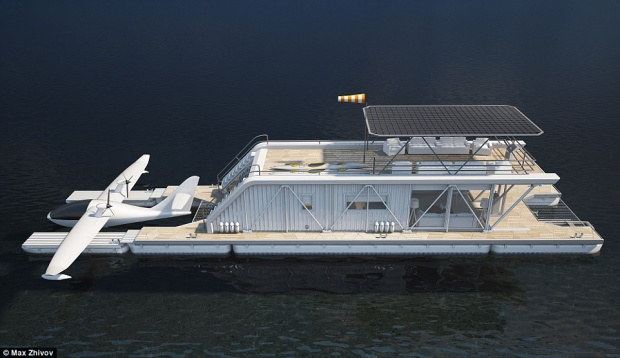Toàn cảnh căn nhà thuyền hiện đại và sang trọng.