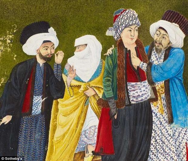 Quần áo của các nhân vật nam cho thấy đây là những người thuộc Hoàng gia.