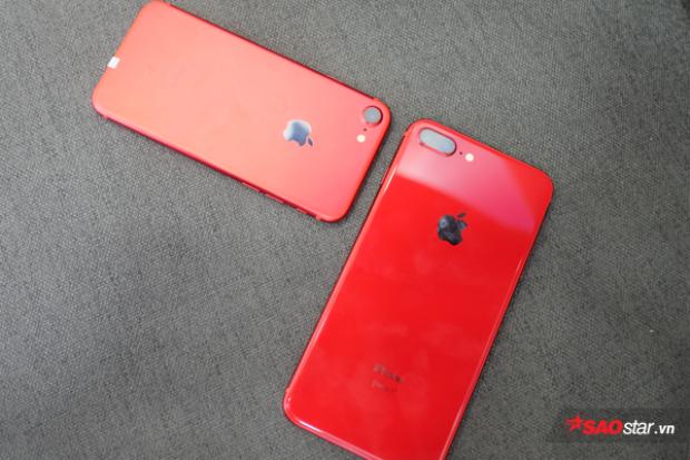 Màu đỏ trênchiếc iPhone 8 Plus tươi hơn màu đỏ trên iPhone 7.