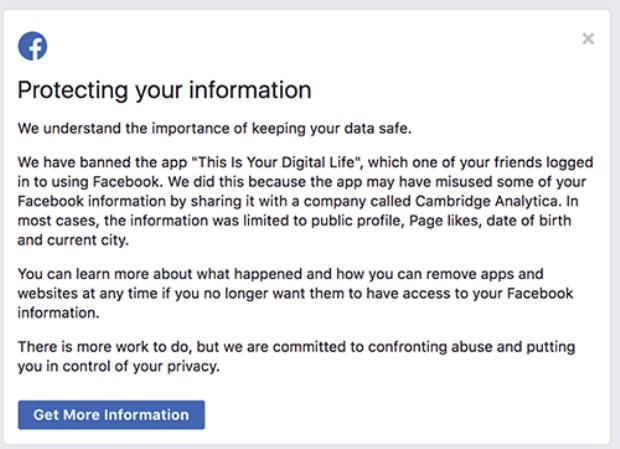 Thông báo kiểm tra Facebook gửi người dùng.