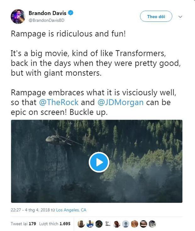 Rampage rất hài hước và giải trí. Đây là một bom tấn, kiểu như Transformers hồi xưa khi chúng còn hay, với quái vật khổng lồ. Bộ phim đã làm tốt những thế mạnh của nó, The Rick và Jeffrey Dean Morgan có màn trình diễn quá hoành tráng. Đi xem thôi!