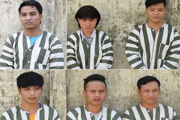 6 bị can bị bắt tạm giam vì hành vi bắt giữ người trái pháp luật. Ảnh: CACC.