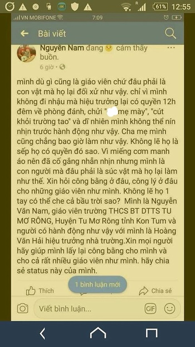Dòng trạng thái được cho là của thầy giáo Nguyễn Văn Nam. Ảnh: VTC News.