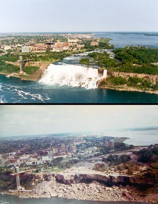 """ThácNiagara trước và sau khi """"gặp nạn""""."""
