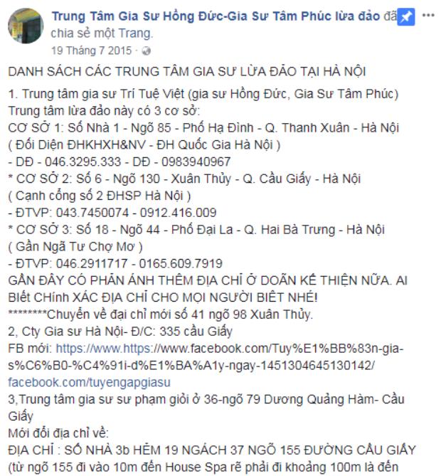 Trên fb có hẳn 1 trang dành riêng chỉ rõ các địa chỉ Trung tâm gia sư lừa đảo tại Hà Nội
