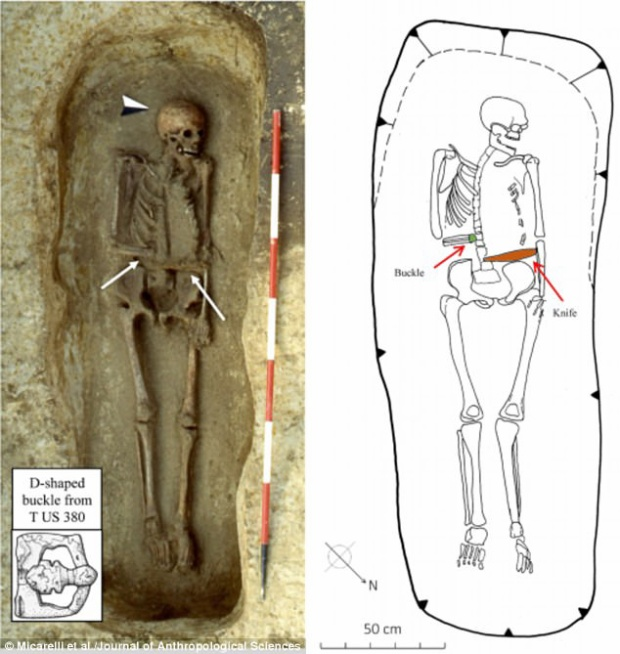 Bộ xương chiến binh bị mất một tay được khai quật, với con dao được đặt trên người.