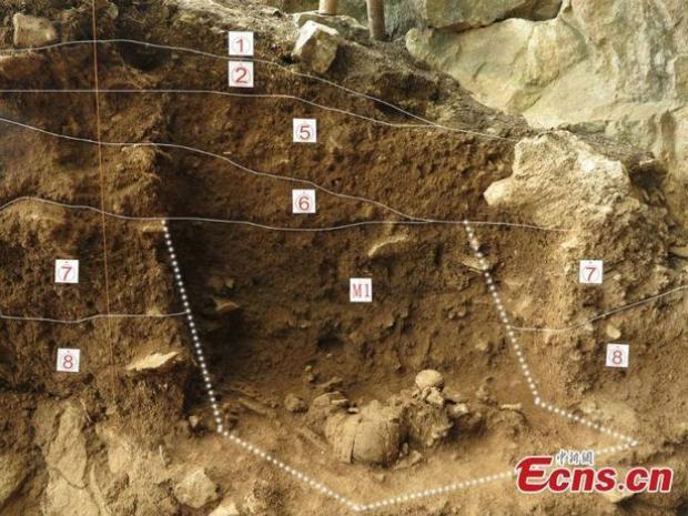 Nhóm khảo cổ bắt đầu khai quật khu vực hang động Yahuai từ tháng 6/2015. Ảnh: Ecns.cn