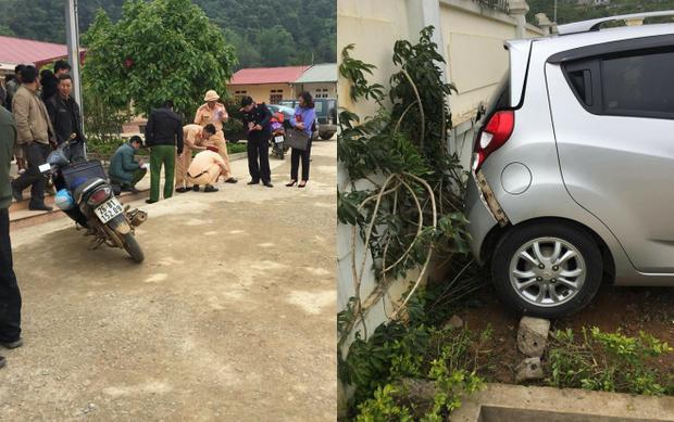 Hiện trường vụ tai nạn trong khuôn viên nhà trường.