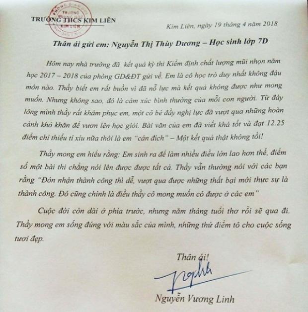 Bức tâm thư thầy Linh đặc biệt gửi đến học trò.