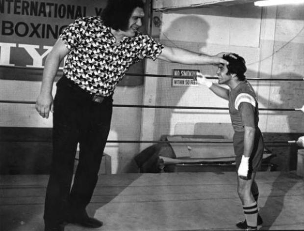 André gặp gỡ võ sĩ quyền anh chuyên nghiệp Bobby Chacon năm 1979. Đứng trước André Người khổng lồ, võ sĩ quyền anh cũng trông như một đứa trẻ.