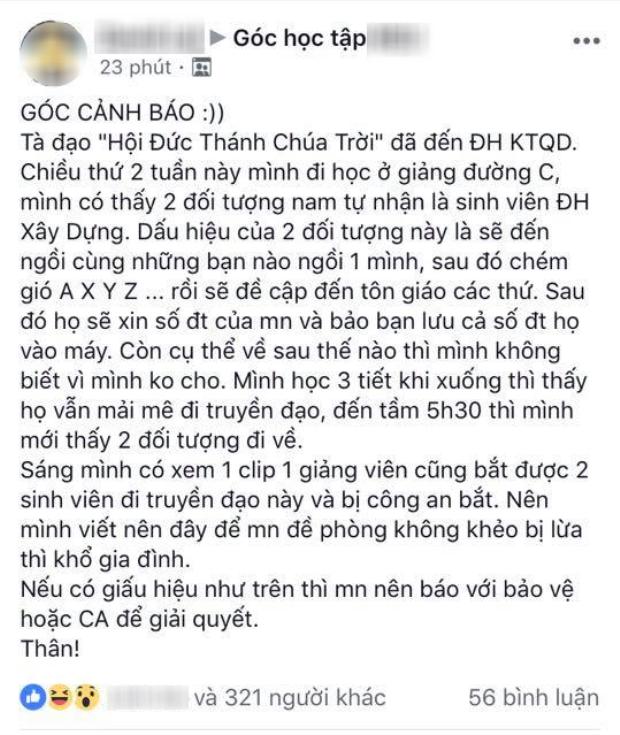Tà đạo Hội Thánh Đức Chúa Trời đã lan đến Hà Nội: Sinh viên nhắc nhau nên cảnh giác