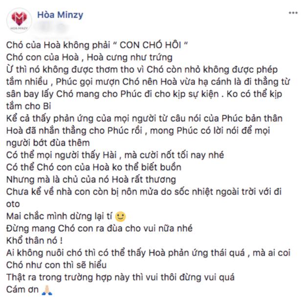 Nguyên văn bài đăng của Hoà Minzy.