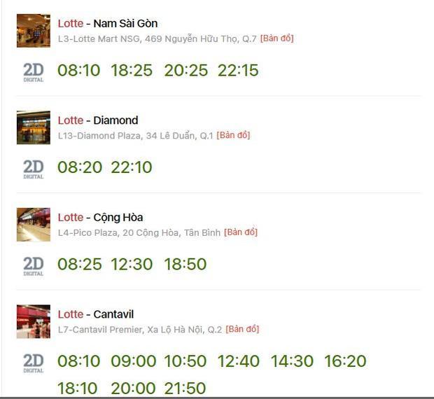 Khung giờ chiếu phim 100 ngày bên em của hệ thống Lotte Cinema tại TP.HCM. Duy chỉ có cụm rạp Cantavil là có số lượng suất chiếu nhiều nhất. Còn lại đều bắt đầu từ sáng sớm hoặc tối muộn.