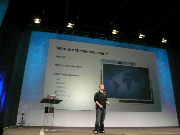 Zuckerberg là người dẫn dắt hội thảo lập trình viên thường niên của Facebook. Đây là nơi anh cập nhật những thông tin mới trong đường hướng công ty. Trước khi sự kiện này thu hút được hàng nghàn người hâm mộ, Mark Zuckerberg vẫn lên sân khấu với đôi dép cao su như thế này.