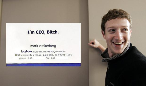 Mark Zuckerberg không phải lúc nào cũng trong hình ảnh nghiêm túc như hiện tại. Đây là danh thiếp của anh những ngày đầu thành lập Facebook.