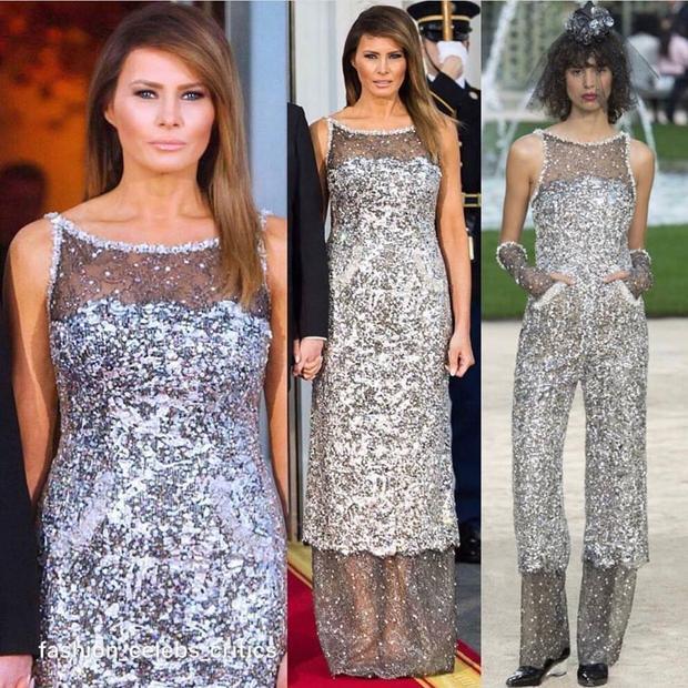 Đây là một sáng tạo của thương hiệu Chanel, nằm trong BST Haute Couture xuân, hè 2018. Nhưng theo nguyên bản, thiết kế là một mẫu jumpsuit ánh kim, còn trong trường hợp này, trang phục đã được chỉnh lại đôi chút thành váy dài để phù hợp với tính chất trang trọng của sự kiện.