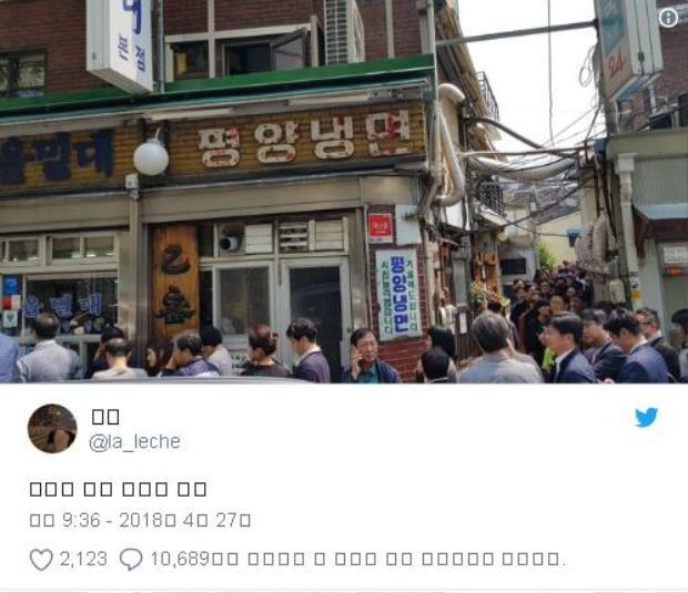 """Hashtag #PyongyangNaengmyeon cũng lập tức """"gây bão"""" mạng xã hội ở Hàn Quốc"""".Ảnh: Twitter"""