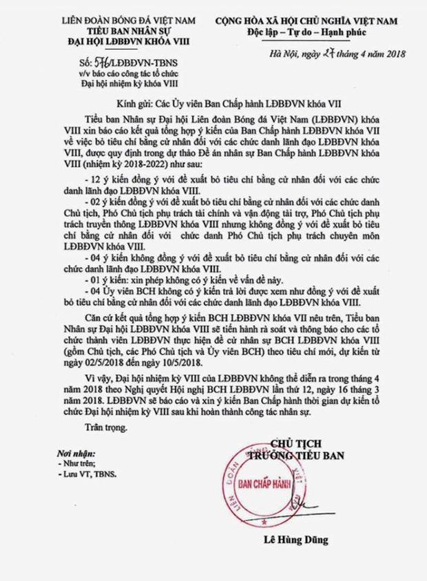 Văn bản của lãnh đạo VFF gửi đến các ủy viên Ban chấp hành.