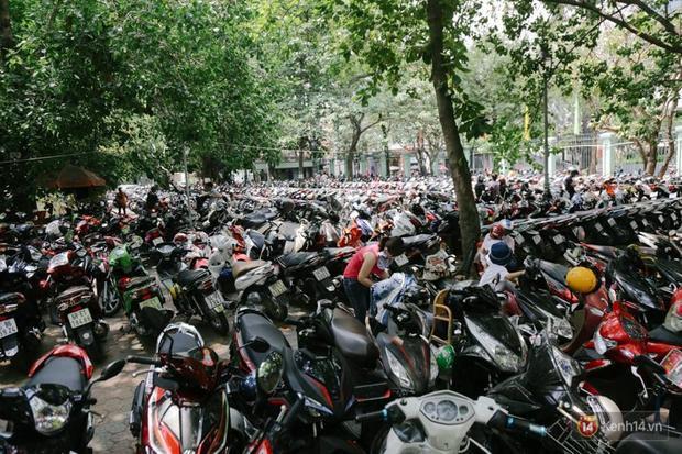 Xe máy chật kín trong Thảo Cầm Viên Sài Gòn ngày lễ. Ảnh: Tri Thức Trẻ.