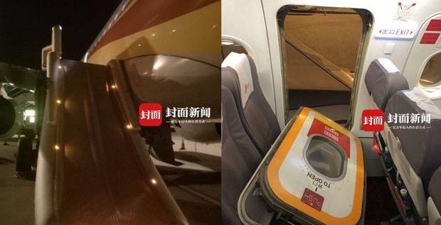 Máng trượt khẩn cấp bung ra sau khi Chen kéo tay cầm của cửa thoát hiểm khẩn cấp. Ảnh: Shanghaiist