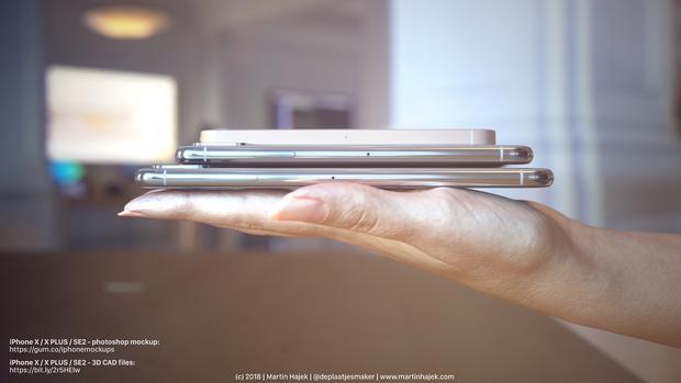 iPhone SE2 trong concept có sườn máy phẳng, trong khi đó hai thiết bị còn lại có sườn máy cong bán elip. Kiểu sườn máy này sẽ giúp người dùng không bị cấn tay với những chiếc máy có kích thước lớn.