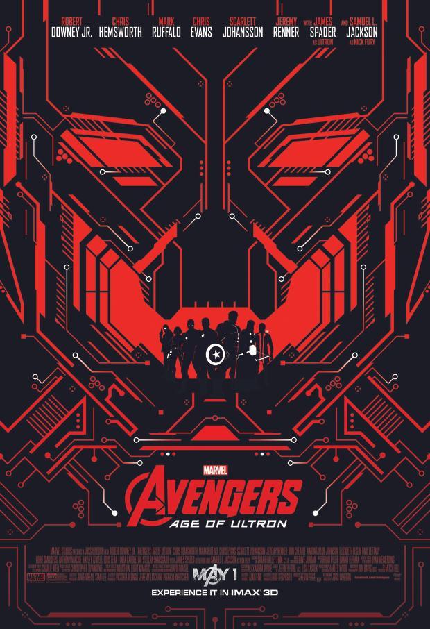 Siêu phẩm Avengers: Age Of Ultron với poster cũng bao trùm sắc đỏ đen bí ẩn.