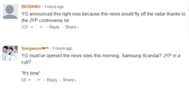 Rất nhiều ý kiến cho rằng YG đang lợi dụng scandal của JYP và Samsung để chuyện trôi qua nhẹ nhàng hơn.