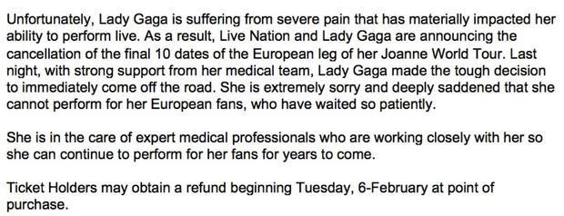 Thông báo chính thức đầy chuyên nghiệp từ phía đội ngũ của Gaga được đăng tải trên tất cả các kênh chính thức về việc huỷ những đêm diễn của Joanne World Tour.