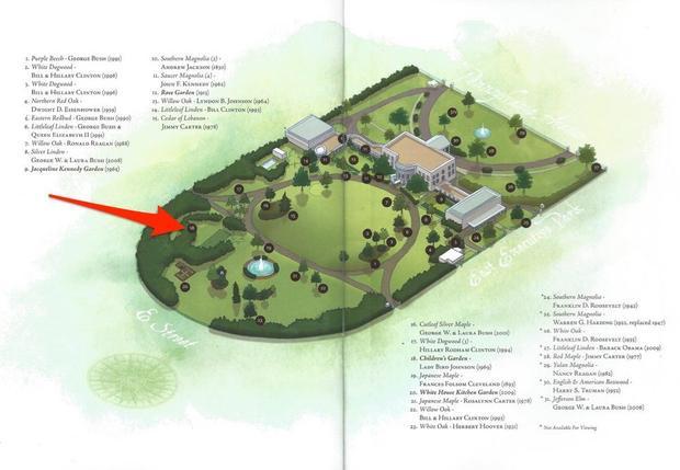Phía nam của bãi cỏ phía nam, nằm phía sau rặng cây là một khu vườn bí mật. Nó được gọi là Khu vườn trẻ em Nhà Trắng.