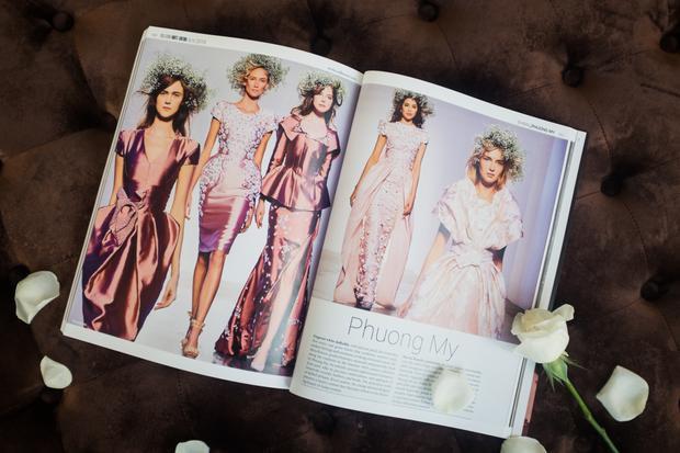 Trang phục của NTK Phương My lại một lần nữa được vinh dự xuất hiện trên tạp chí này cùng với nhiều nhãn hàng thời trang cao cấp của thế giới như: Chanel, Dior, Givenchy, Louis Vuitton…