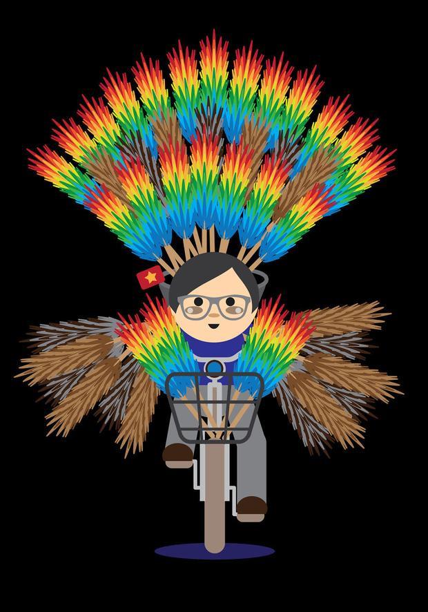 Khi chiếc xe đạp cũng hóa thành những chú công sặc sỡ đầy màu sắc như thế này với chổi lông gà.