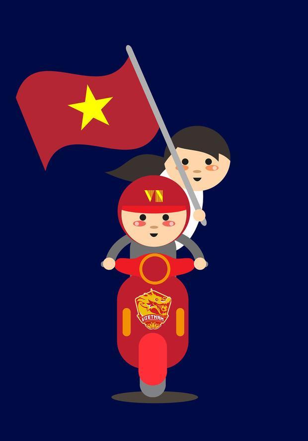 Các cổ động viên bóng đá giương cao lá cờ Tổ quốc cổ vũ đội tuyển Việt Nam trong trận chung kết U23 châu Á.