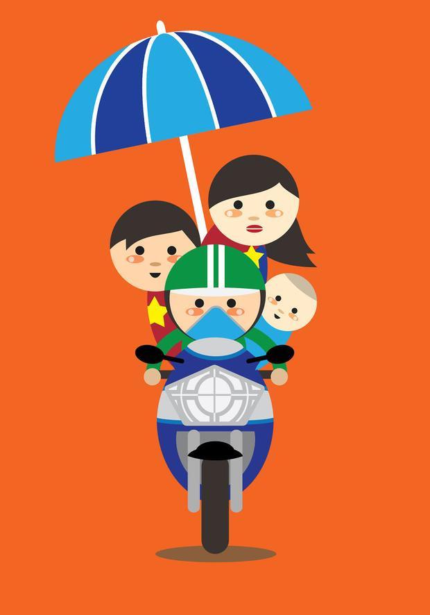 1 xe chở 1 gia đình là điều vô cùng tự nhiên ở Hà Nội nhé!