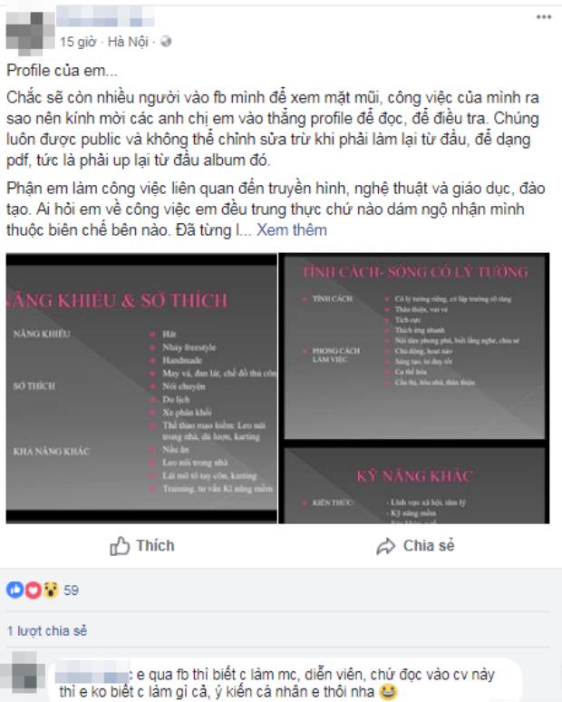 Bản CV tự giới thiệu của nữ MV không mấy nổi tiếng.