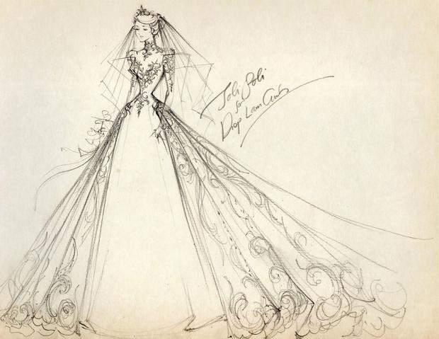 Bản phác thảo của mẫu váy cưới.
