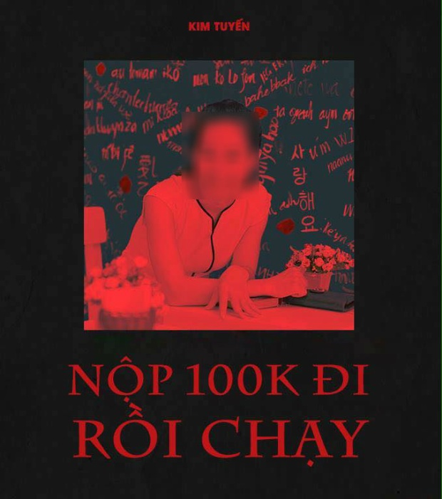 """Cô giáo này được gắn với poster MV mới nhất của Sơn Tùng M-TP. Thế nhưng thay bằng """"Chạy ngay đi"""", dân mạng đã chế thành """"Nộp 100k đi rồi chạy""""."""